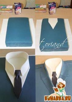 Shirt cake Tutorial - For Father's Day. Cakes To Make, Cakes For Men, Fancy Cakes, How To Make Cake, Cake Decorating Techniques, Cake Decorating Tutorials, Gateau Iga, Fondant Cakes, Cupcake Cakes