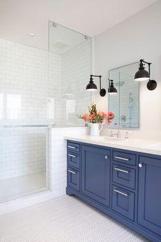 Washroom Design, Bathroom Interior Design, Teenage Girl Bathrooms, Blue Vanity, Transitional Bathroom, Bathroom Kids, Bathroom Inspo, Upstairs Bathrooms, Pacific Heights