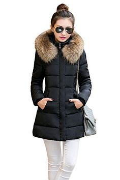 YMING Women's Thickened Hooded Cotton Down Jacket Fur Collar Long Overcoat Black M