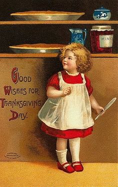 A little girl and pumkin pies are featured on this vintage Thanksgiving postcard.
