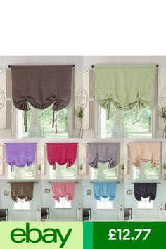 #eBayCurtains & Valances Home, Furniture & DIY Roman Curtains, Tulle Curtains, Window Drapes, Tie Up Shades, Curtain Length, Curtain Ties, Shades Blinds, Small Windows, Rod Pocket
