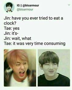 Good job Tae,not only Jin can make dad jokes😂😂😂 Kookie Bts, Bts Jin, Bts Bangtan Boy, Jimin, Bts Taehyung, K Pop, Famous Meme, Seokjin, Namjoon