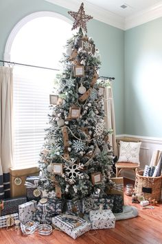 my flocked farmhouse christmas tree super cute cotton stems lambs ear galvanized snowflakes and wooden bead garland