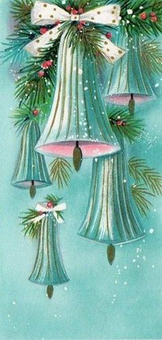 Vintage Christmas card illustration - I love everything about this -- those saturated colors are gorgeous.