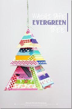 Washi Tape Evergreen Tree   @mamamissblog #washitapecrafts #holiday #ornament