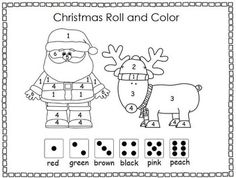 Christmas Roll and Color, Santa and Reindeer - Hallie Martin - TeachersPayTeachers.com