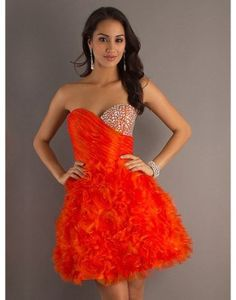 A-line red sweetheart zippered ruffled short prom dress with sequins  US$168.00