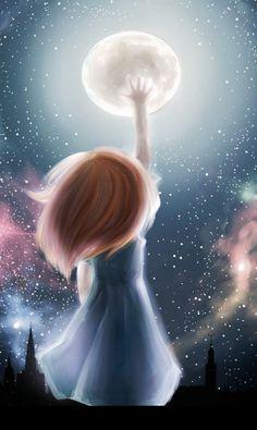 Spiritual rose of silence: Manifesteren, hoe doe je dat nu Regard Animal, Girly Drawings, Beautiful Moon, Moon Art, Whimsical Art, Cute Illustration, Cartoon Wallpaper, Anime Art Girl, Cute Wallpapers