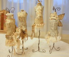 Karlas  cottage - I saw some mini cardboard dress forms at Michaels this weekend, would be perfect to do this.