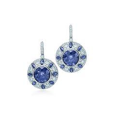 Tiffany  Co.   Item   Aretes con zafiros y diamantes en platino.   México
