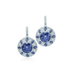 Sapphire and diamond earrings in platinum.