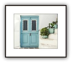 Pastel aqua blue wooden door and three flower pots with succulents Mediterranean style Greece photograph. Fine art photography print. More of my Greece photographs here http://etsy.me/1gIlPkl  TITLE - Three Blue Pots SIZES - 8x10 - 11x14 - 16x20 - 20x24 (horizontal photography print)  Fine art photograph professionally printed on luster photography paper for rich vivid detail and archival longevity. Prints are unframed/unmatted. Carefully shipped in a non bending photo mai...