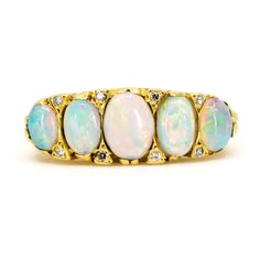 Antique Victorian Opal & Diamond Five Stone Ring. This lovely ring features five cabochon cut opals decorated with single cut diamonds to carved gold mount. Antique Rings, Antique Jewelry, Vintage Jewelry, Ring Ring, Gemstone Colors, Gemstone Rings, Diamond Cuts, Jewelry Gifts, Turquoise Bracelet