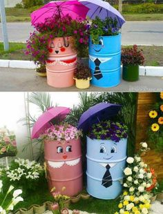 10 Awesome Ideas for your Garden - Creative DIY Ideas- decorate with large steel or plastic drums.