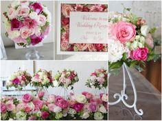 [ 会場装花:ハッピーピンク ]乙女心をくすぐる色といえばやっぱりピンク。 幸福感のあるピンク色で会場を幸せムードでいっぱいに。