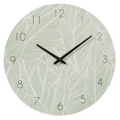 Horloge verte imprimé feuillage