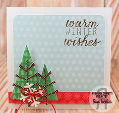 Card by Lisa Henke. Reverse Confetti stamp sets: Seasonal Sentiments and Whole Lotta Dots. Confetti Cuts: Branch Out and Let It Snow. Christmas card.