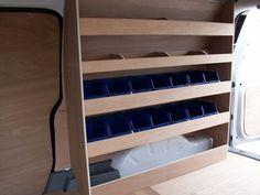 Van Storage Van Racking VW Caddy Maxi Plywood Shelving with storage bins