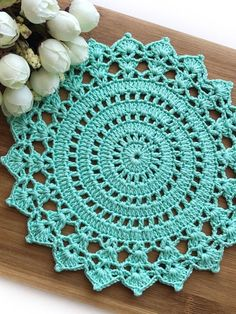 Crochet Table Mat, Crochet Box, Crochet Mandala, Cotton Crochet, Thread Crochet, Crochet Motif, Easy Crochet, Crochet Stitches, Crochet Placemat Patterns