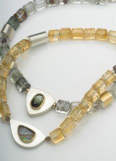 Citrines, boulder opal; Tourmillated quartz, tourmaline
