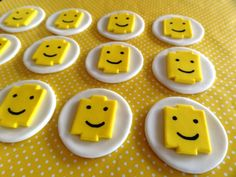 12 Fondant Edible Cupcake Toppers - Building Blocks inspired theme on Etsy, $19.00