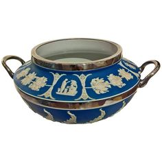 19th Century Wedgwood Salad Bowl in Blue Jasperware | From a unique collection of antique and modern ceramics at https://www.1stdibs.com/furniture/dining-entertaining/ceramics/
