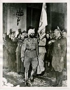 A Sikh Soldier of the Azad Hind Fauj at a function in Berlin - 1944 India In World, Azad Hind, Jaisalmer, Udaipur, Germany Ww2, History Of India, Military Pictures, Empire, Indian Army