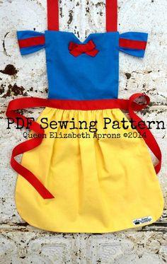 SNOW WHITE Disney Princess inspired Child Costume Apron Pdf Sewing PATTERN. Girls sizes 2-8 Birthday Party Dress up Play Photo Prop Children