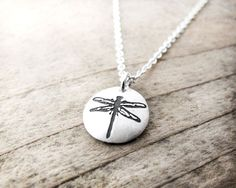 Tiny dragonfly necklace in silver  dragonfly by lulubugjewelry, $30.00
