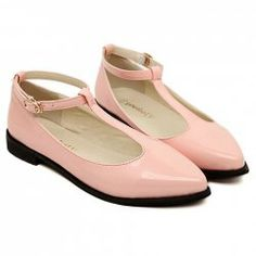 $15.08 Simple Solid Color and T-Strap Design Women's Flat Shoes