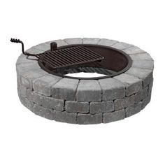 Necessories, Grand Fire Pit 48 in. Concrete Fire Pit in Blue Stone with Cooking Grate, 3500006 at The Home Depot - Mobile