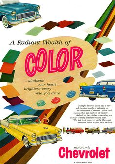 Chevrolet - 1955 advertisement showing off the color selection for your new Bel Air...