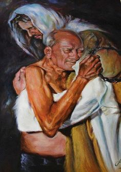 Jesus embracing a homeless elderly man and the man is holding the crown of thorns in his hand!  When I saw this picture, I was so moved with compassion, that it made me cry. There is such extravagant love in God's heart for the elderly, homeless, lonely and hurting of His people.