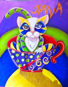 Cat Art Original Color Pencil on MDF Alma Lee