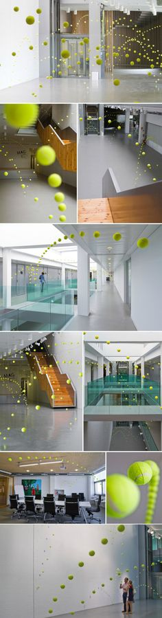 Spanish artist Ana Soler, an epic installation specialist recently put up more than 2000 tennis balls at Mustang Art Gallery in Alicante (via Collabcubed).