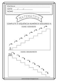 Count backward and upward Kindergarten Math Worksheets, Preschool Math, Teaching Math, Portuguese Lessons, Numbers Kindergarten, Kids Learning Activities, Math For Kids, Teaching Materials, Kids Education