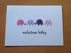 New baby card using Martha Stewart elephant punch and diamantes