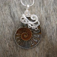 Ammonite Fossil Wire Wrapped Pendant Necklace by Care More Creations, $62.00