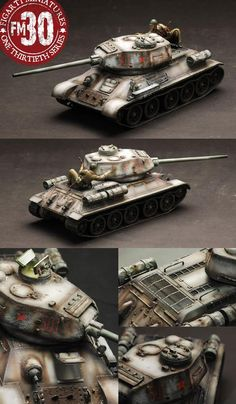World War II Russian Army Winter Version Tank set with Rider - Made by Figarti Military Miniatures and Models. Factory made, hand assembled, painted and boxed in a padded decorative box. Excellent gift for the enthusiast. T 34 85, Model Tanks, Ww2 Tanks, Military Diorama, Toy Soldiers, Armored Vehicles, Tamiya, Plastic Models, World War Ii