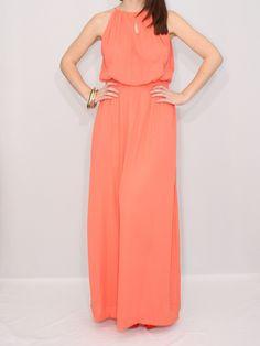 Long Coral Dress Bridesmaid Dress Chiffon Maxi Dress Keyhole dress Party Dress von KSclothing auf Etsy https://www.etsy.com/de/listing/121698905/long-coral-dress-bridesmaid-dress