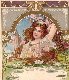 Scarce Art Nouveau Mermaid Water Lily Jugendstil 1905 Must See | eBay