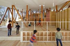 Hakusui Nursery in Chiba, Japan designed by Yamazaki Kentaro Design Workshop makes use of it's gently sloping site by creating large terraces or steps providing both physical fun and different zones for different activity.