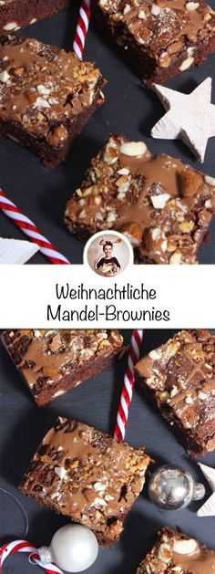 Weihnachtliche Mandel-Schokoladen -BrowniesWho is in the mood for a few delicious Christmas almond chocolate brownies? So if you love chocolate and almond kernels, this Christmas almond brownies recipe is just the thing for you! The simple and easy Brownie Recipes, Cookie Recipes, Dessert Recipes, Holiday Cookies, Christmas Desserts, Tartiflette Recipe, Love Chocolate, Almond Chocolate, Delicious Chocolate