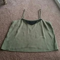 Olive Green Tank Only worn once! It's a pretty olive green color, and has a black mesh part at the top on both front and back! Wossimo Tops Tank Tops