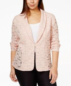 INC International Concepts Plus Size Sheer Lace Blazer, Only at Macy's