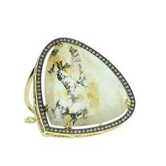Unique Quartz arborisée with brown diamonds ring by JM Gems.