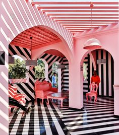 The Pink Zebra: An Eye-Popping Restaurant/Bar Inspired by the Work of Wes Anderson – Design Milk – architecture Lounge Design, Design Hotel, Home Design, Design Design, Pink Design, Design Ideas, Clean Design, Chair Design, Design Projects