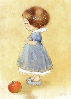 "Екатерина Бабок (Ekaterina Babok), ""яблочко"" (""Apple"").  Oh my gosh, that is beyond adorable.  Look at her eye beneath those long lashes . . . She sooooo wants that apple."