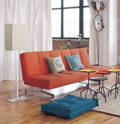 flex orange sleeper sofa in bedroom furniture | CB2