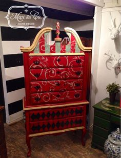 High Boy Chest of Drawers, chalk paint, painted furniture, harlequin, stripes, swirls, red, yellow, blue.  Furniture redo